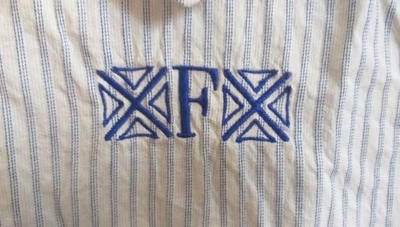 古著 條紋 圖騰 微高領 襯衫