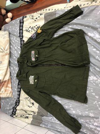軍綠牛仔外套