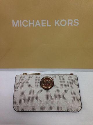 MK 鑰匙包 零錢包 象牙白 專櫃 正品 真皮