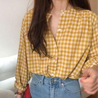 黃色格紋襯衫