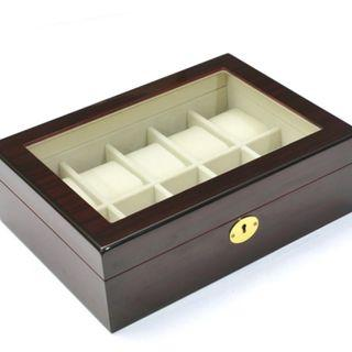 Starzdeals - 10 Slot Dark Rose Wood Watch Storage Jewelry Box Case