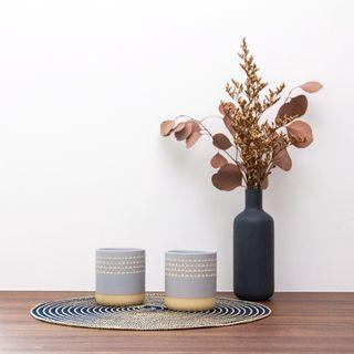 🚚 [instocks] grey and wood triangle cups (set of 2)