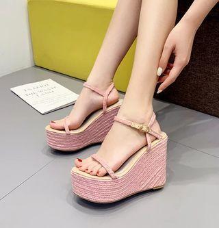 【全新】草編楔形高跟涼鞋