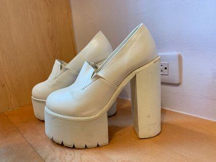 白色 歐美 高跟厚底鞋