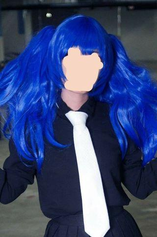 BLUE COSPLAY WIG + PONYTAILS