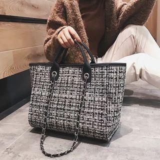 Woolen Checker Shoulder Tote Bag