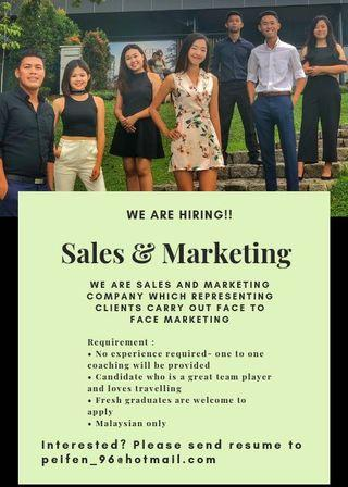 Immediate Hiring for Sales and marketing executive