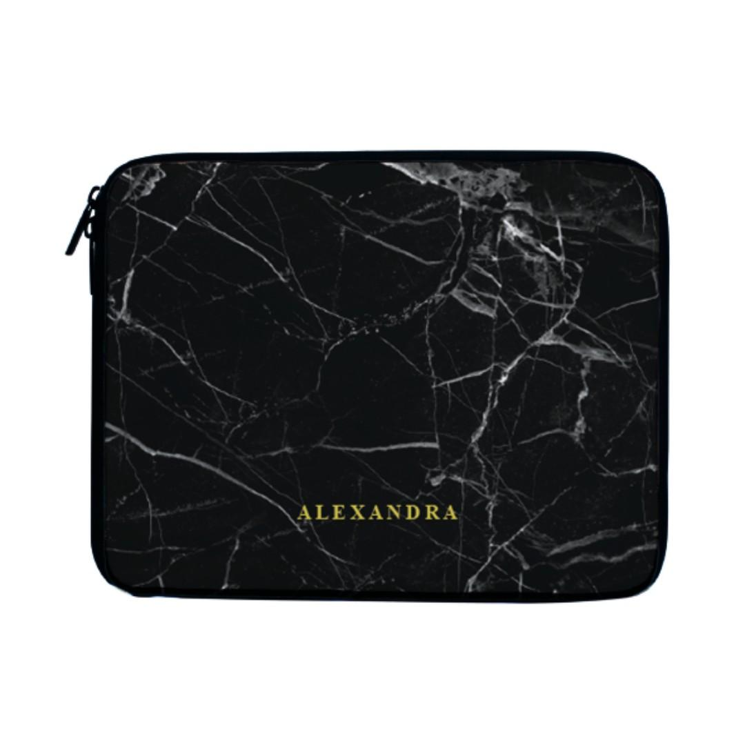 Black Marble Minimalist Laptop Case Sleeve Bag
