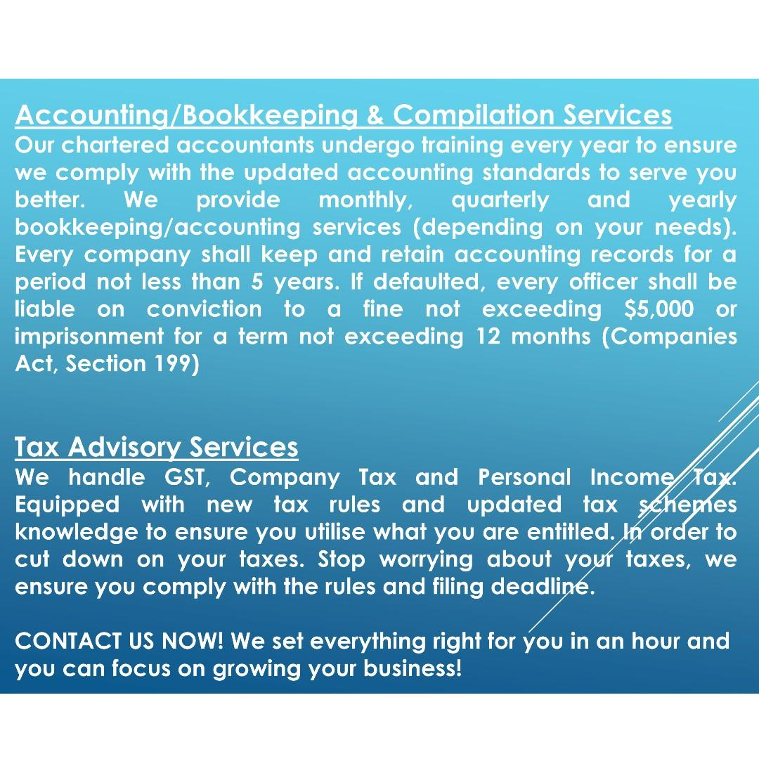 Bookkeeping, Accounting, Tax, Company Secretary, Compilation, GST & XBRL Filing