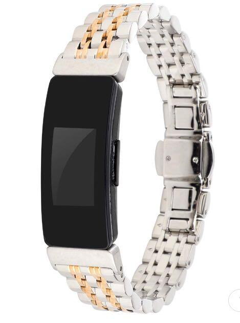 Brand New Super Cool Silver+Gold Stainless Steel Good Quality Strap for Fitbit Inspire/ Inspire HR
