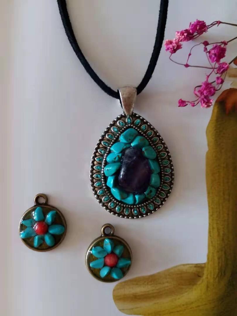 新品diy绿松石、紫晶水晶掛件增加贵气、智慧