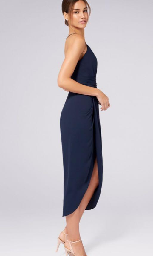 Forever new Charlotte drape maxi dress navy blue size 4 xxs