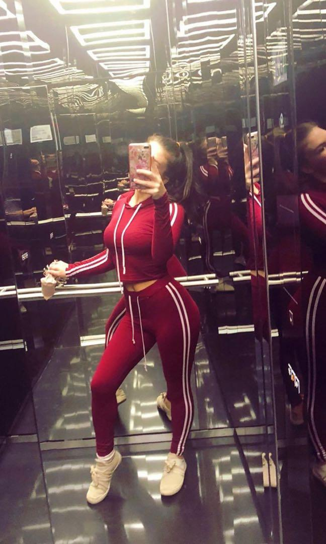 Red marching track piece skin tight material size 10