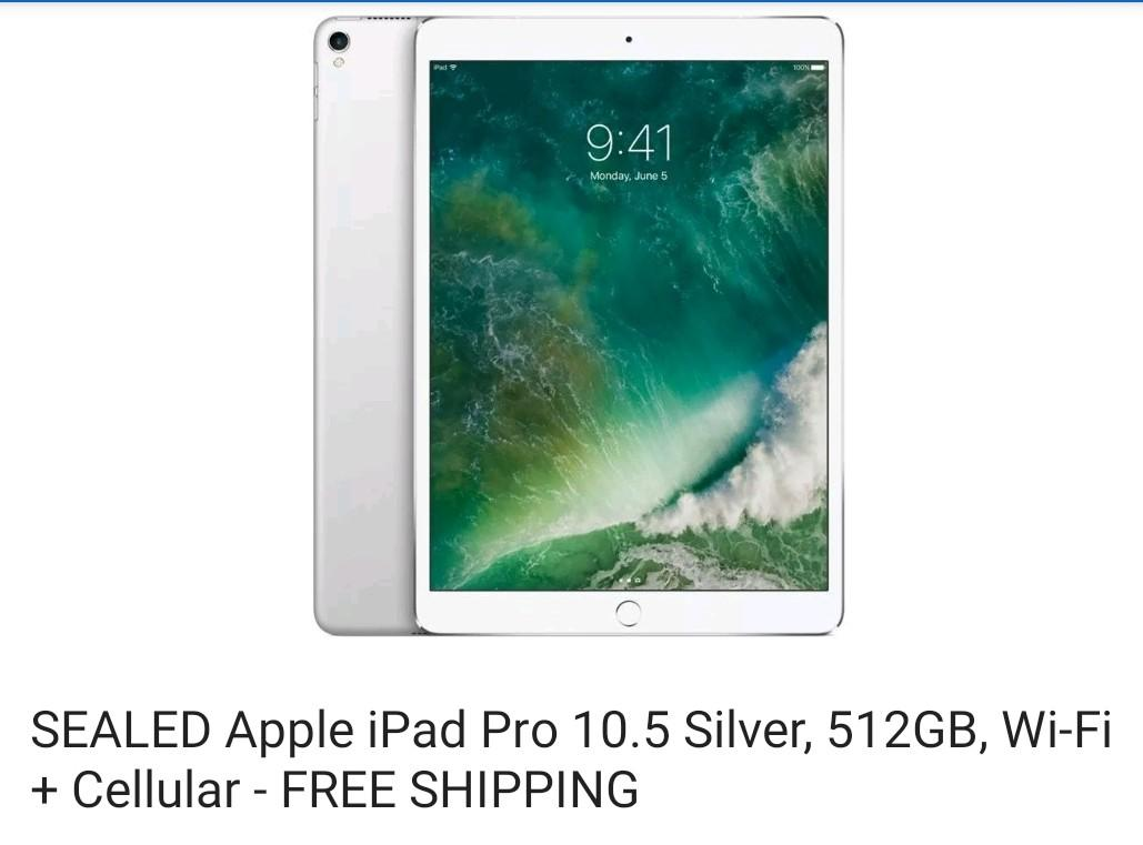 SEALED Apple iPad pro 10.5 inches 512gb wi-Fi + cellular