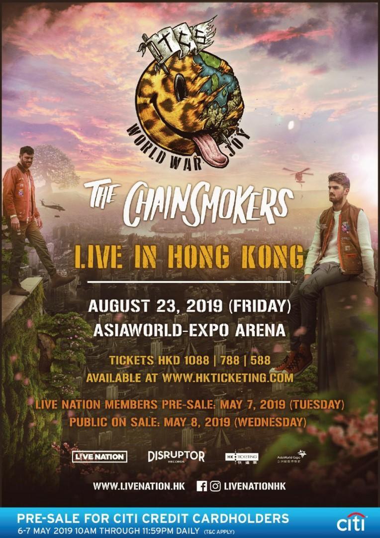 The Chainsmokers 2019 香港站 $588門票 2連坐位