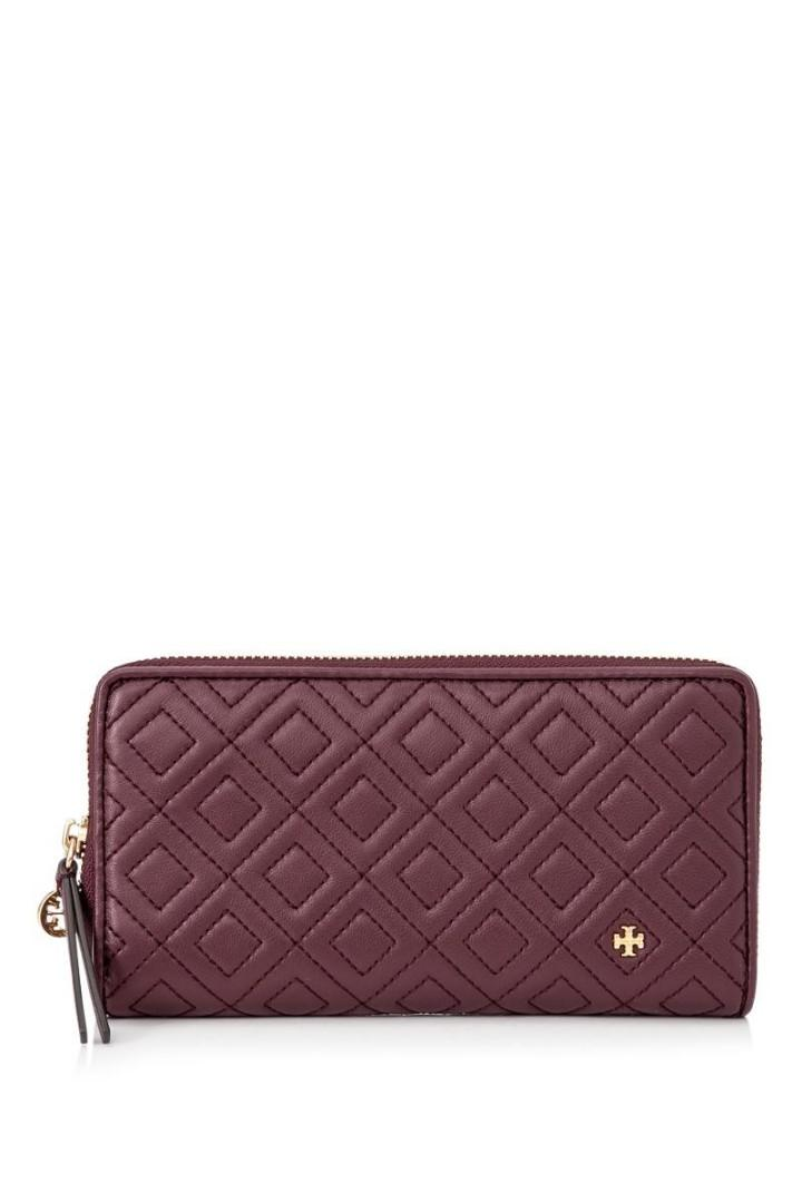 Tory Burch Fleming Zip Continental Wallet Dark Red