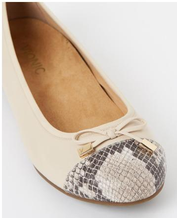 Vionic Minna leather snakeskin and cream ballet flats
