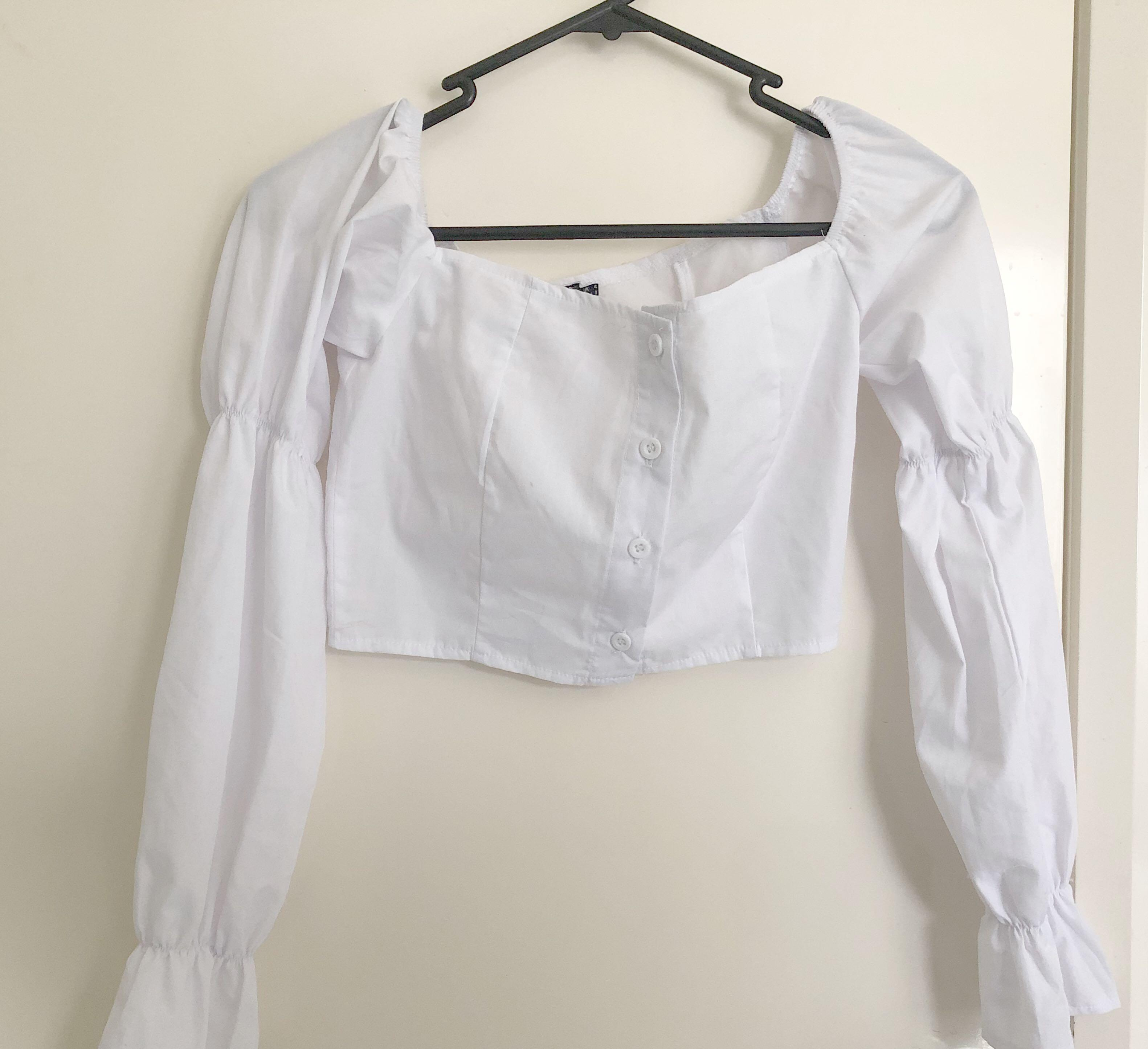 White Button Front Bardot Puff Long Sleeve Crop Top