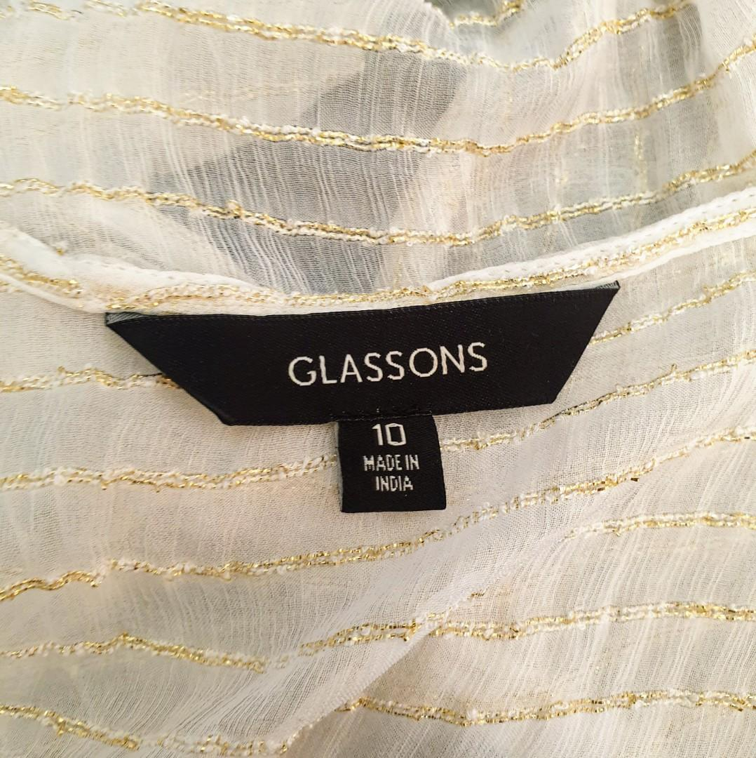 Women's size 10 'GLASSONS' Stunning sheer white gold long sleeve crop blouse top