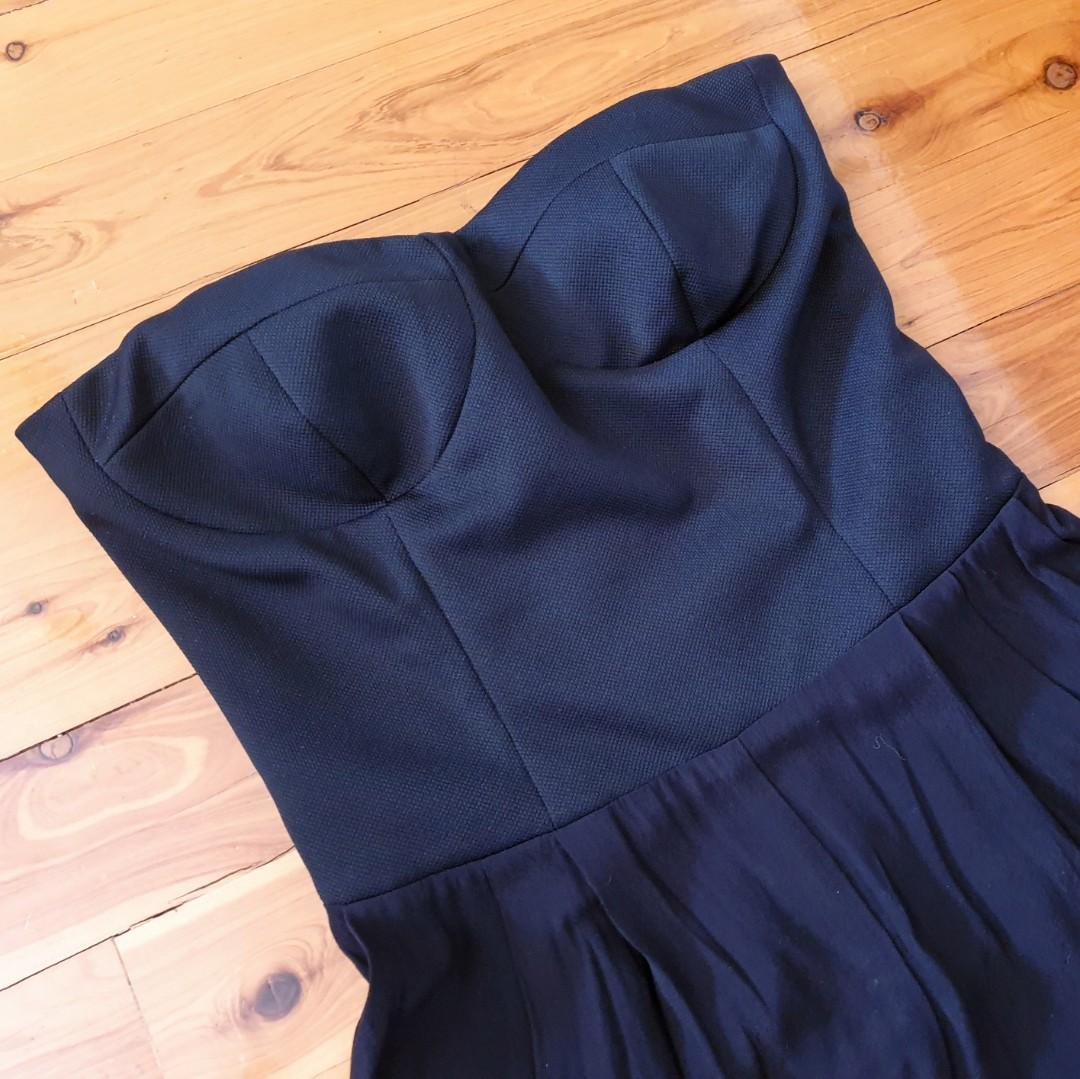 Women's size 12 'BARDOT' Stunning black strapless jumpsuit - AS NEW