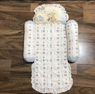 Baby thin mattress with pillow and bolsters