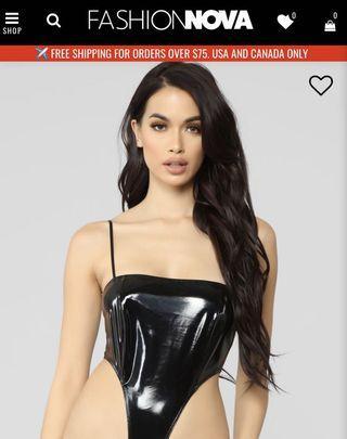 Latex black square neck bodysuit fashion nova