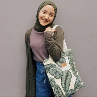 CANVAS TOTEBAG GREEN LEAVES