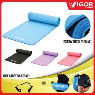 VIGOR FITNESS NBR Yoga Mat (10mm) [Free Strap]