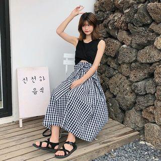 傘狀格子長裙