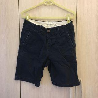 Abercrombie & Fitch 深藍水洗刷破短褲