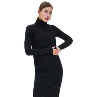 Zara turtleneck black textured weave casual work dress