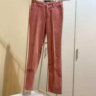 Preloved Pink Velvet Long Pants denim jeans / celana panjang wanita