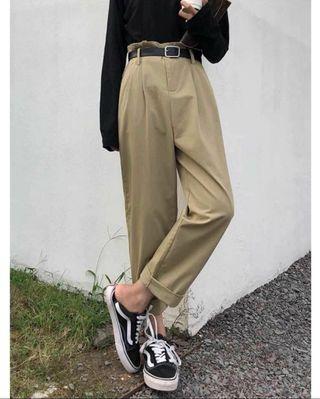 顯瘦高腰卡其褲