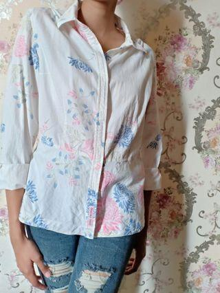 White Shirt with Flowers Pattern