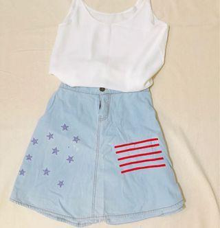 美國女孩鄉村刺繡牛仔裙 #恭喜旋轉七歲囉!
