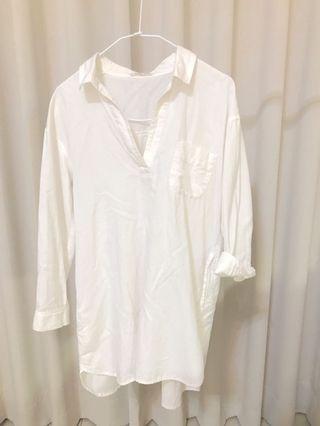 日本專櫃 森林女孩舒服綿白色上衣洋裝#恭喜旋轉七歲囉!