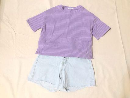 Queenshop 好感紫色橫條棉T恤#恭喜旋轉七歲囉!