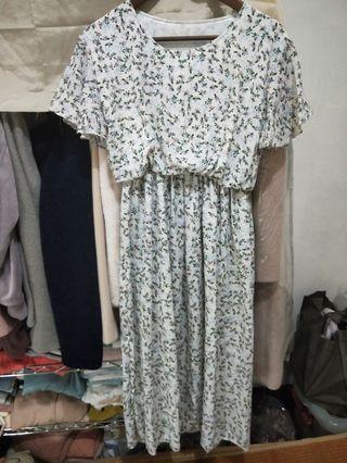 出清全新杏色春夏綠粉色碎花縮腰米白長洋裝