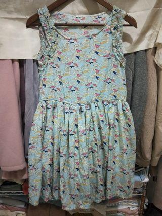 出清春夏水藍色小鳥圖騰背心洋裝