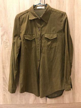 軍綠麂皮雙口袋襯衫