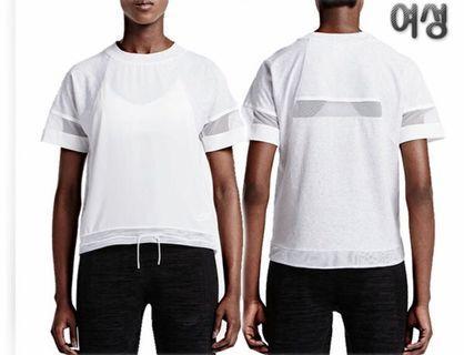 Nike 白色抽繩網狀短袖運動休閒 海邊 泳衣罩衫 清涼