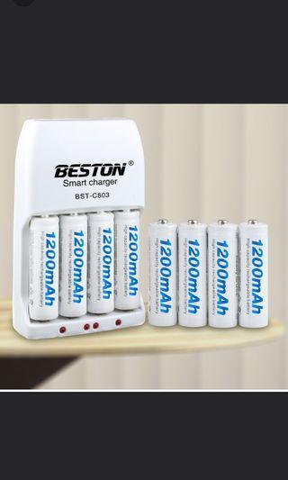1200mAh 3號充電電池8顆+充電器+收納盒