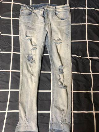 刷白牛仔破褲 Oversize 寬鬆版