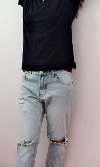 流行水洗牛仔褲