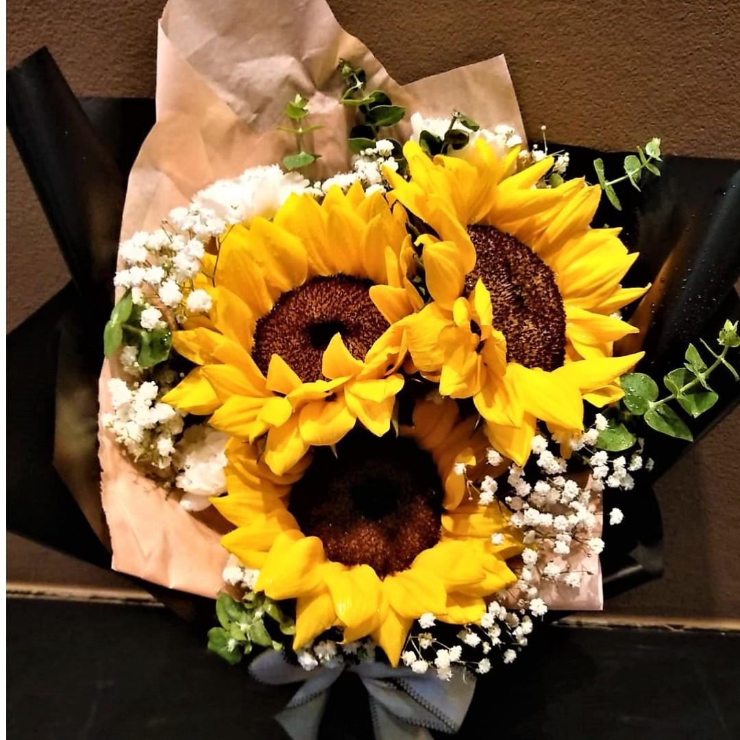3 Sunflower With Baby Breath And Eucalyptus Gardening Flowers Bouquets On Carousell