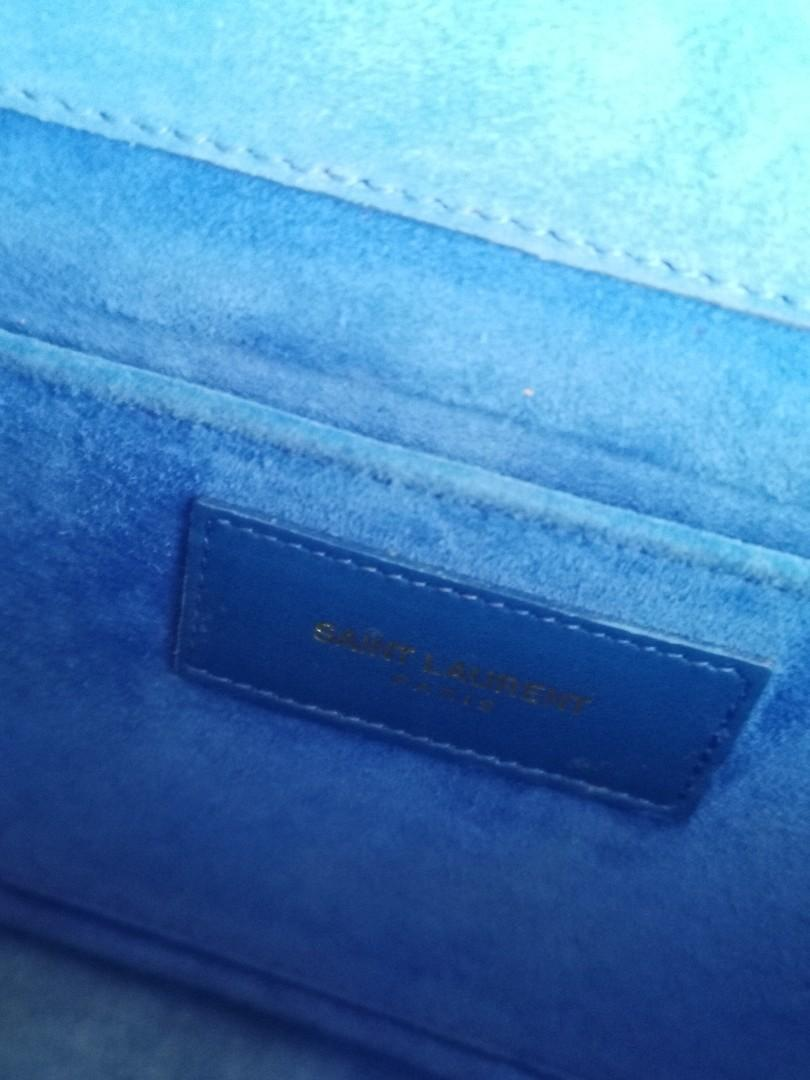 Authentic Yves Saint Laurent Classic Y clutch in Electric Blue