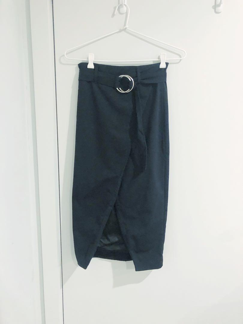 Bardot Front Slit Skirt with Belt Size 8 Excellent Condition