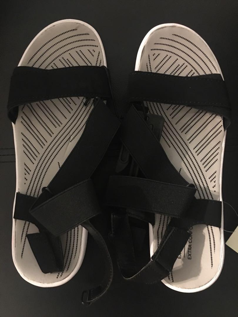 BNWT George women's black/white memory foam sandals sz 9