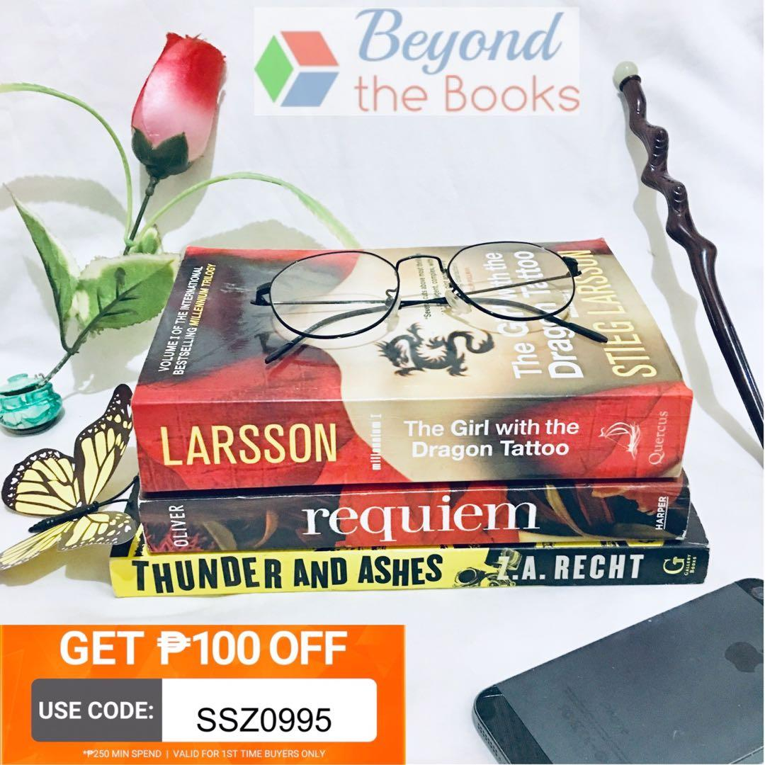 BOOKSALE! Buy1 take2: Requiem, The Girl with the Dragon Tattoo and Thunders and Ashes #MrSpeedyCarousell