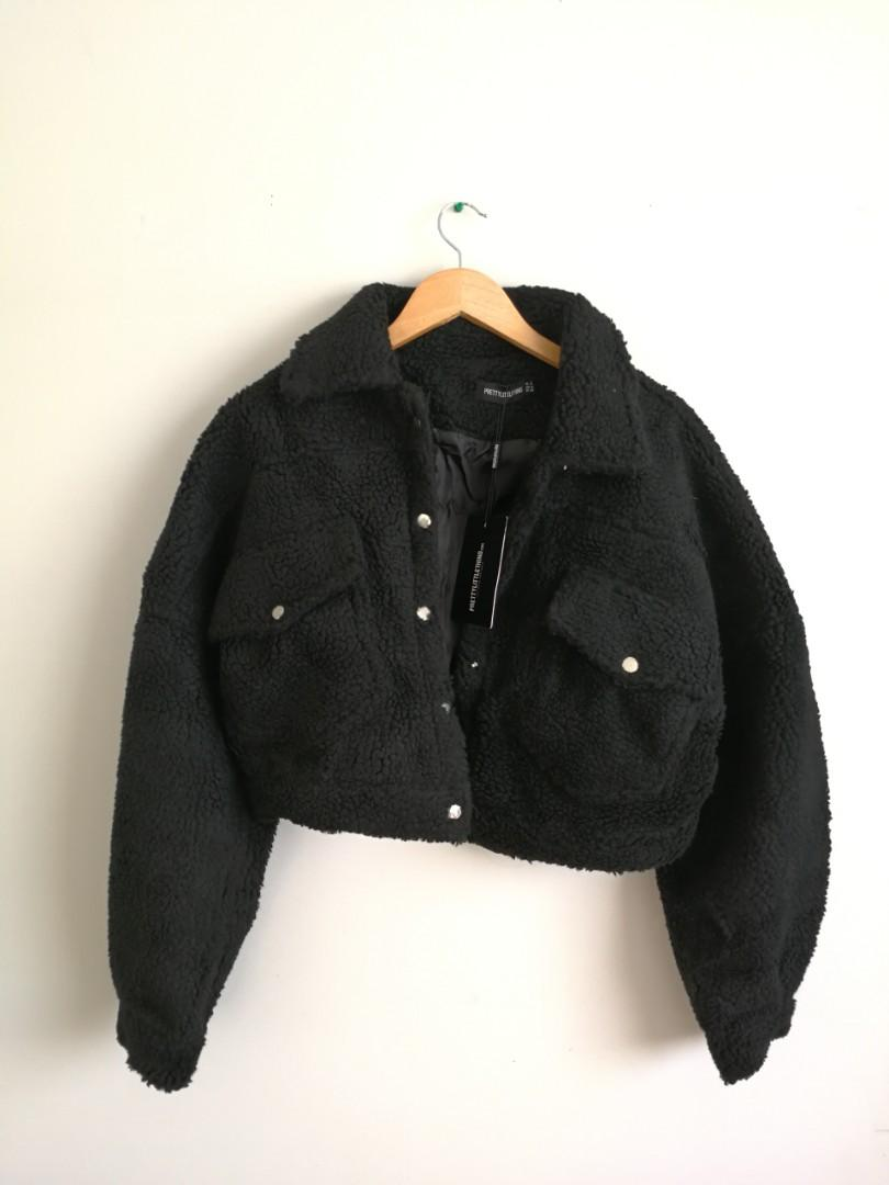 Cropped Faux Fur Jacket from PrettyLittleThing.com